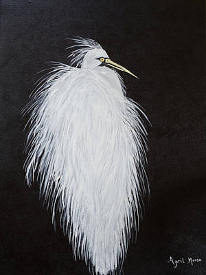 Snowy Egret Original by April Moran