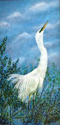 Wall Art - Painting - Snowy Egret Before The Rain by Paula Noblitt