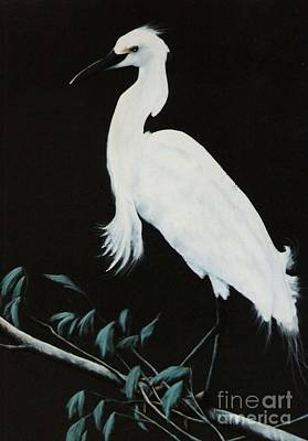 Print featuring the painting Snowy Egret by DiDi Higginbotham
