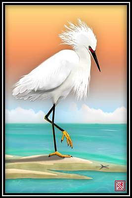 Digital Art - Snowy Egret White Heron On Beach by John Wills