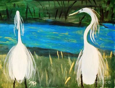 Snowy Egrets At The Pond Print by Marie Bulger