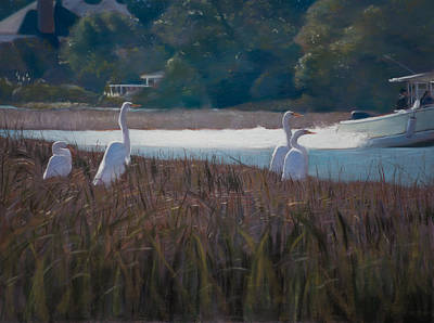 Boating Pastel - Snowy Egrets Icw by Christopher Reid