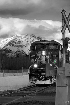 Train Tracks Photograph - Snowy Engine Through The Rockies by Lisa Knechtel