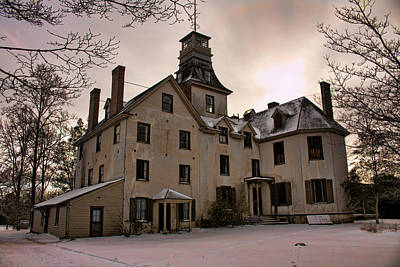 Photograph - Snowy Evening At Batsto Mansion by Kristia Adams
