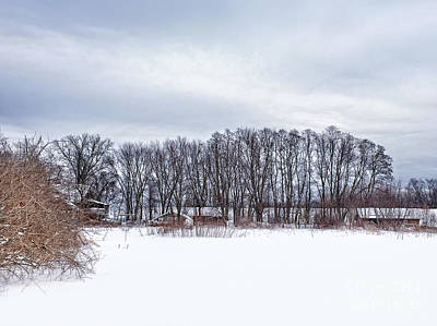 Snowy Farm Art Print by HD Connelly