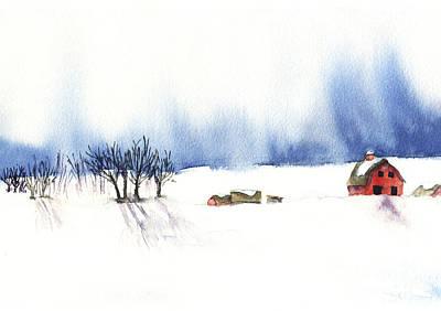 Painting - Snowy Farm by Kerrie  Hubbard