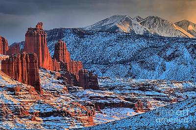Photograph - Snowy Fisher Towers by Adam Jewell