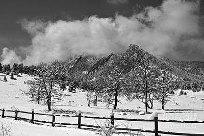Photograph - Snowy Flatirons Boulder Colorado Landscape View Bw by James BO Insogna
