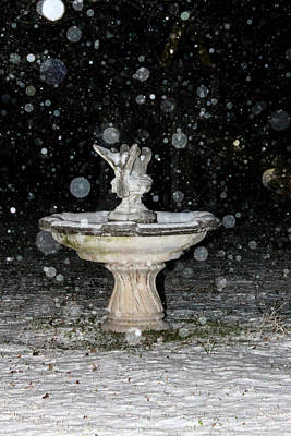 Photograph - Snowy Fountain by Hannah Miller