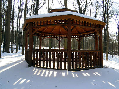 Photograph - Snowy Gazebo by Ron Grafe