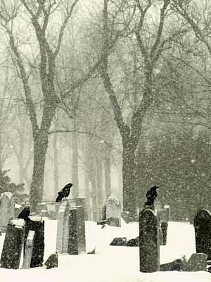 Birds In Graveyard Photograph - Snowy Graveyard Crows by Gothicrow Images