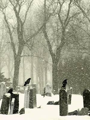 Snowy Graveyard Crows Art Print
