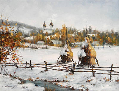 Snowy Haystacks Art Print