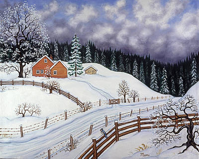 Inspirational Painting - Snowy Hill by Linda Mears