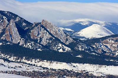 University Of Boulder Colorado Photograph - Snowy Hills Of Boulder by Steve Krull