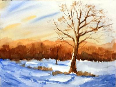Painting - Snowy Indiana Sunset by Larry Hamilton