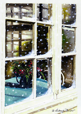 Pitcher With Flowers Painting - Snowy Inn Window by Deborah Burow