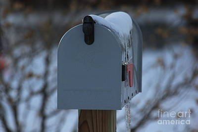 Photograph - Snowy Kansas Mailbox by Robert D  Brozek