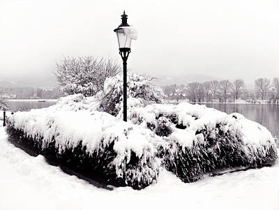 Photograph - Snowy Lamp Post By The River Danube by Menega Sabidussi