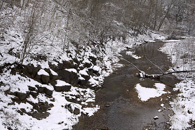 Photograph - Snowy Landscape - A Stream By The Woods by Jane Eleanor Nicholas