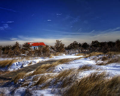 Red Roof Photograph - Snowy Landscape And The Boat House by Vicki Jauron