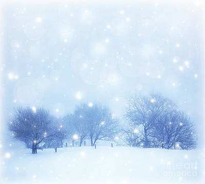 Christmas Holiday Scenery Photograph - Snowy Landscape by Anna Om