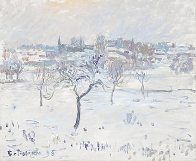 Snowy Landscape At Eragny With An Apple Tree Art Print