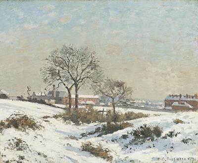 Snow Scene Landscape Digital Art - Snowy Landscape At South Norwood by Camile Pissarro
