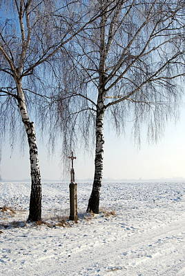 Snowy Landscape With Birches And Wayside Cross Print by Karin Stein