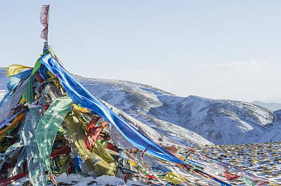 Tibetan Buddhism Photograph - Snowy Landscape With Prayer Flags by Sergey Orlov