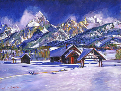 Log Cabin Art Painting - Snowy Log Cabin by David Lloyd Glover