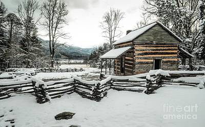 Art Print featuring the photograph Snowy Log Cabin by Debbie Green