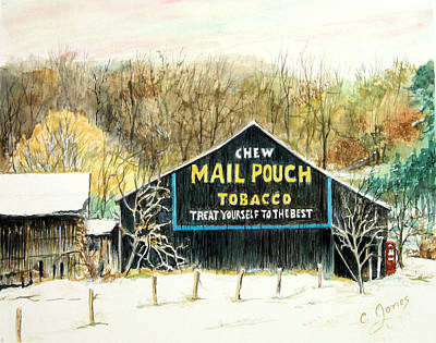 Mail Pouch Barn Painting - Snowy Mail Pouch Barn by C Keith Jones