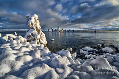 Bishops Peak Photograph - Snowy Mono Lake by Peter Dang