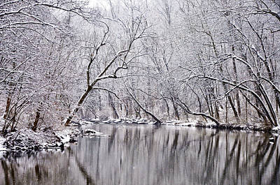 Snowy Morning On Wissahickon Creek Print by Bill Cannon