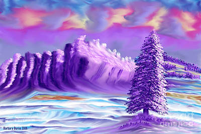 Painting - Snowy Mountain Dusk by Barbara Burns