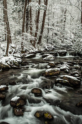 Art Print featuring the photograph Snowy Mountain Stream by Debbie Green