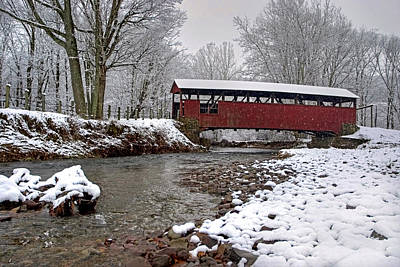 Photograph - Snowy Muncy Creek Crossing by Gene Walls