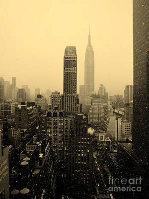 Snowy New York Skyline Art Print