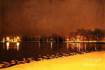 Photograph - Snowy Night At The Lake by Alyce Taylor