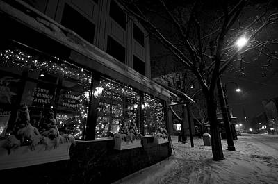 Snowy Night In Burlington Art Print by Mike Horvath