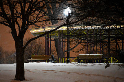 Art Print featuring the photograph Snowy Night In Leone Riverside Park by Bill Swartwout