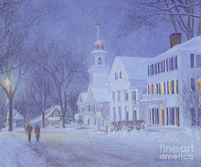 George W. Bush Painting - Snowy Night Kennebunkport by Candace Lovely
