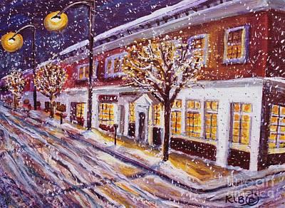 Snowy Night On Mass Ave Original by Rita Brown