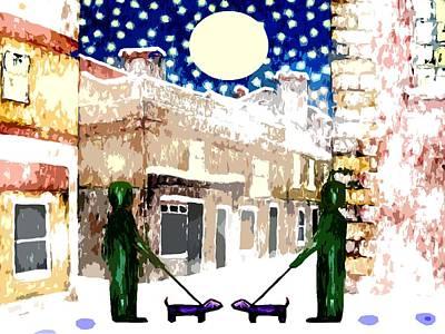Snowy Night Painting - Snowy Night by Patrick J Murphy