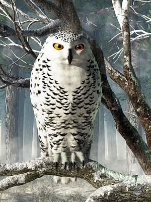Snowy Digital Art - Snowy Owl by Daniel Eskridge