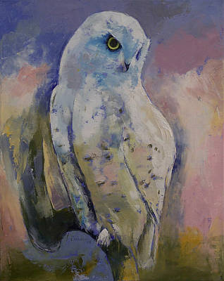 Impasto Oil Painting - Snowy Owl by Michael Creese