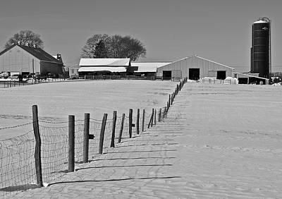 Snowy Pastoral Scene  At The Sheep Farm Art Print by Thomas Camp