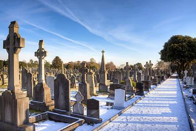 Photograph - Snowy Path Through Glasnevin Cemetery Dublin by Mark E Tisdale