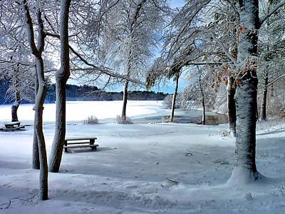 Photograph - Snowy Picnic Grounds by Janice Drew